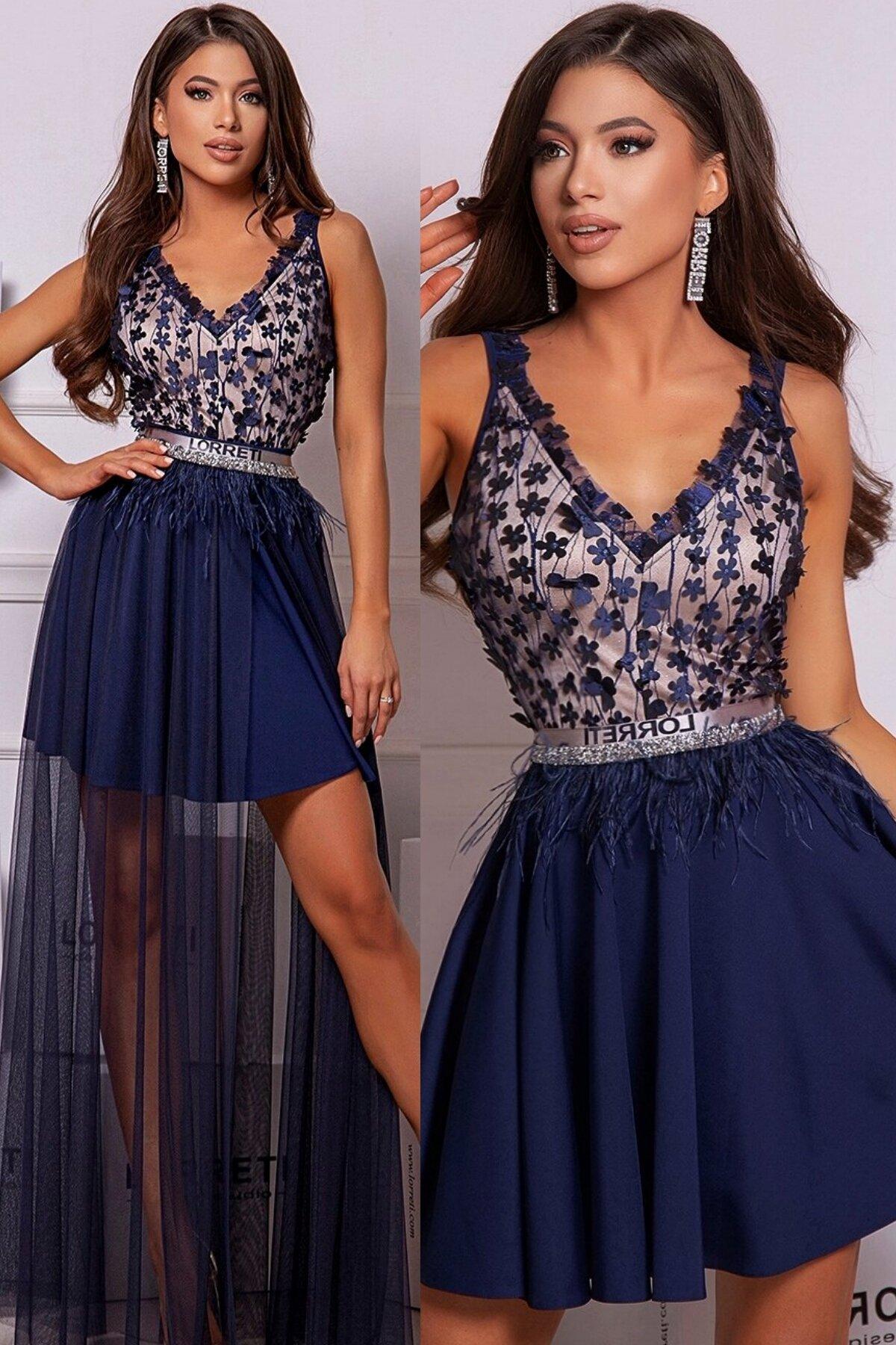 Официална дълга рокля цвят тъмносин феерична lorreti лора лилова
