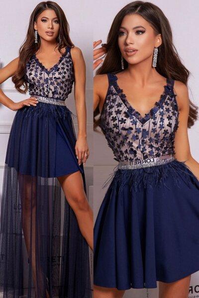 """Официална дълга рокля """"Harmony"""" цвят тъмносин"""