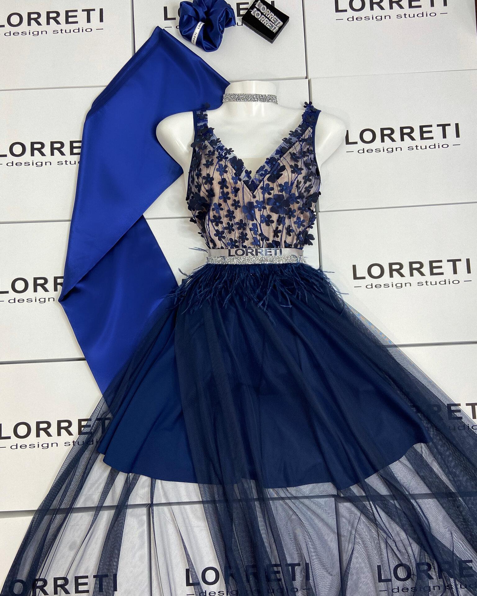Официална дълга рокля цвят тъмносин феерична lorreti