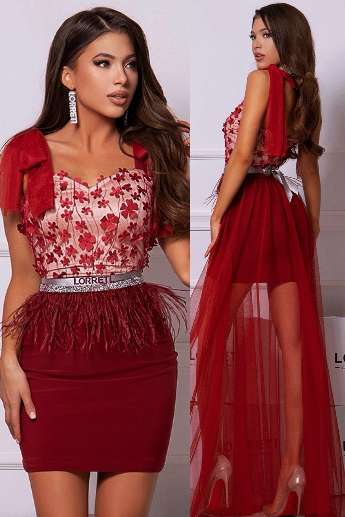 Официална дълга рокля цвят бордо дантелена lorreti лора лилова