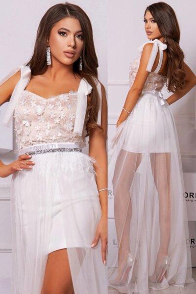 """Официална дълга рокля """"Maraya"""" цвят бял с нюд"""