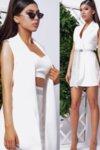 Комплект топ, панталон и рокля-сако цвят бял нежна lorreti
