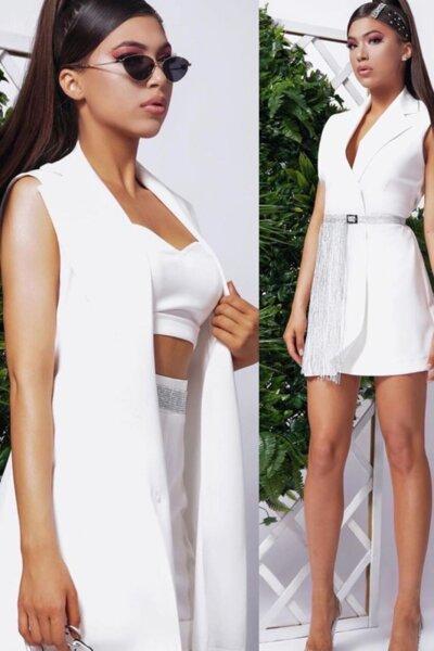 """Комплект топ, панталон и рокля-сако """"Atlas"""" цвят бял"""