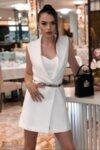 Комплект топ, панталон и рокля-сако цвят бял нежна lorreti десита
