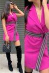 Комплект топ, панталон и рокля-сако цвят фуксия ефектна lorreti