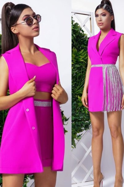 """Комплект топ, панталон и рокля-сако """"Atlas"""" цвят фуксия"""