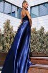 Официална дълга рокля цвят тъмносин Lorreti Лора