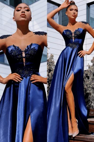 """Официална дълга рокля """"Stassie"""" цвят тъмносин"""