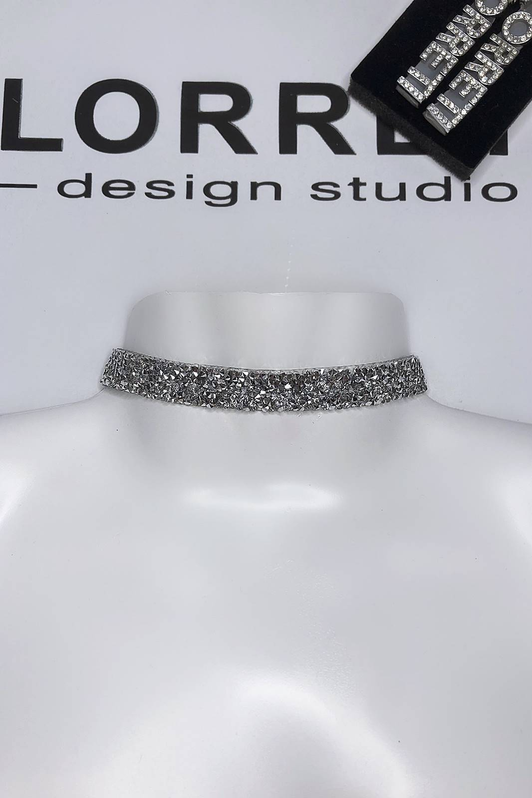 Дизайнерски чоукър с камъни цвят сребърен-Copy