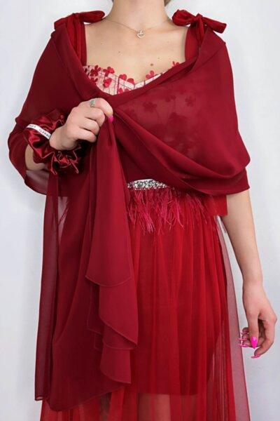 Мултифункционален шал/ парео/ кърпа за глава шифон цвят бордо