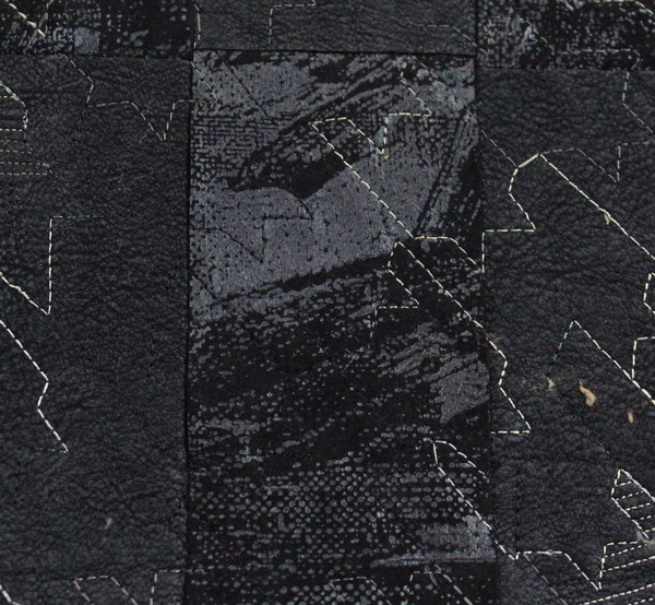 Еко кожа бондинг - черна с бродерия