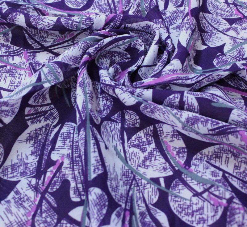Плат шифон коприна - арт лилаво с бяло