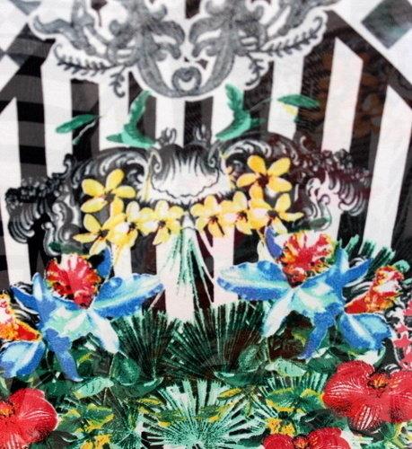 Плат шифон вискоза щампа - Бордюр цветя - 0.35м.