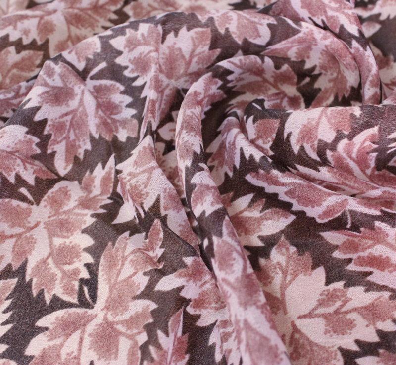 Плат шифон щампа - тунис кафяви есенни листа