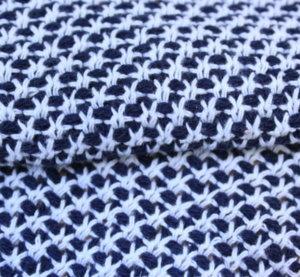 Букле еластично - Меланж тъмно синьо с бяло