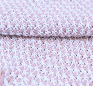 Букле еластично - Меланж бебешко розово с бяло