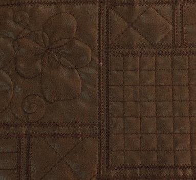 Еко кожа - Кафява бродерия цветя с хастар