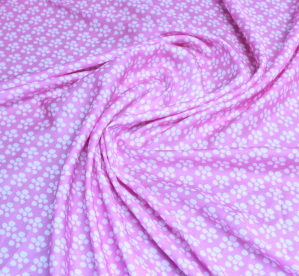 Ацетатна коприна - розова щампа с цветя