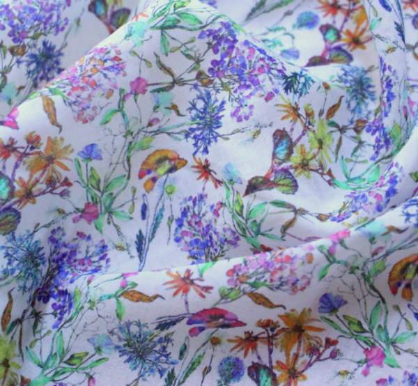 Естествена коприна - пролетни цветя