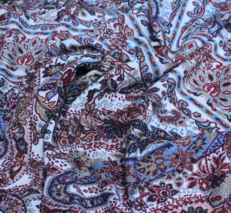 Естествена коприна еластична - кашмирена шарка