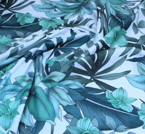 Памук фин щампа - Тропик зелено