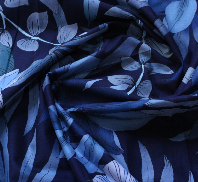 Памук фин щампа - Тропик синьо