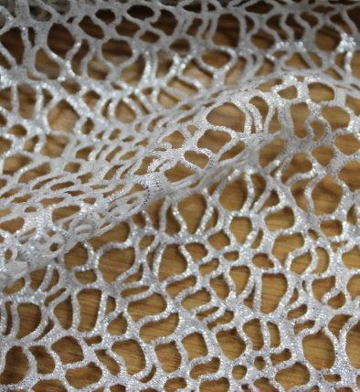 Мрежа памук - бяла със сребърен фойл