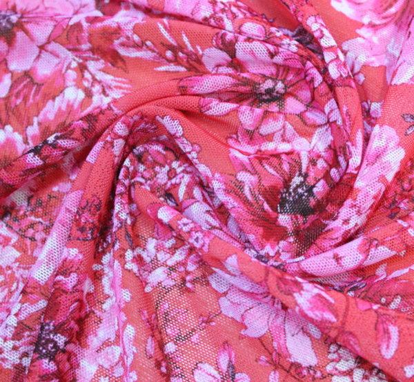 Тюл щампа двойно еластичен - цветя