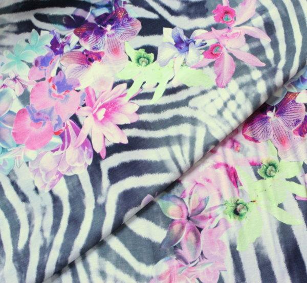 Трико вискоза - щампа зебра с цветя