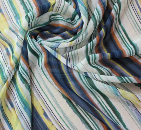 Естествена коприна - шифон цветно райе