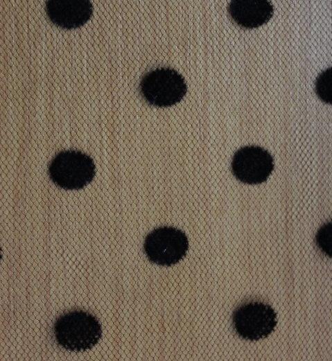 Тюл еластичен с флок -черни точки ситни