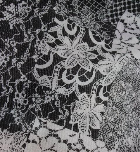 Памук щампа - черно - бяла