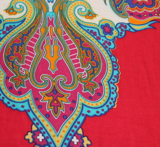 Памук с вискоза щампа кашмирена шарка - червен