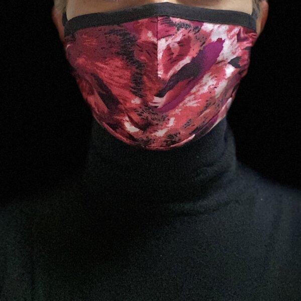 Двуслойна памучна маска с джоб - Пинк Арт