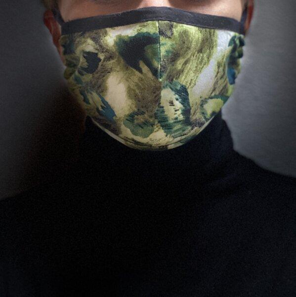 Двуслойна памучна маска с джоб - Грийн Арт