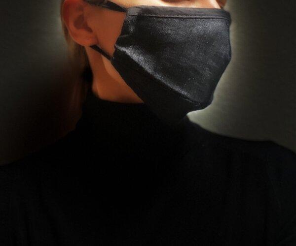 Двупластова памучна маска с джоб - Деним