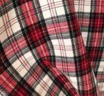 Вълнен плат каре - бяло, черно, червено