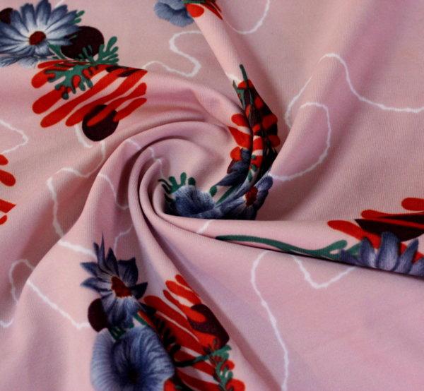 Плат трико щампа - розово на тъмносини цветя