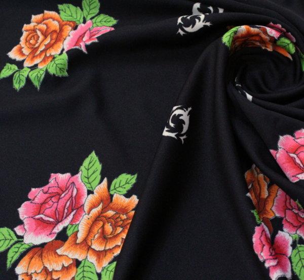 Плат трико щампа - черно на рози