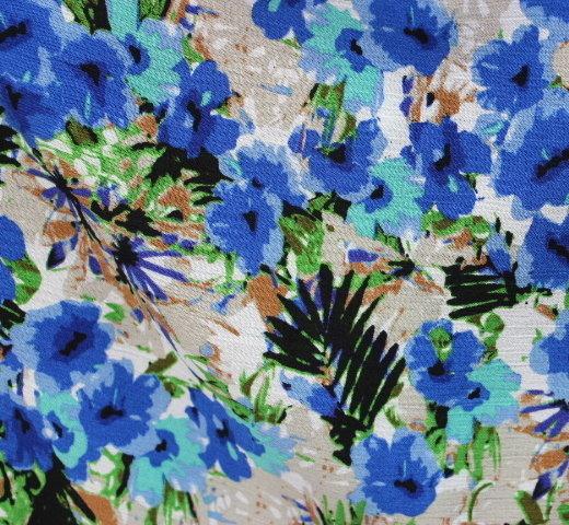 Памук кенар щампа - сини цветя.