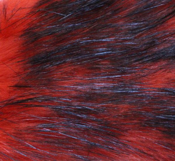 Еко кожа с дълъг косъм - оранжево с черно