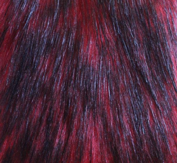 Еко кожа с дълъг косъм - червено с черно