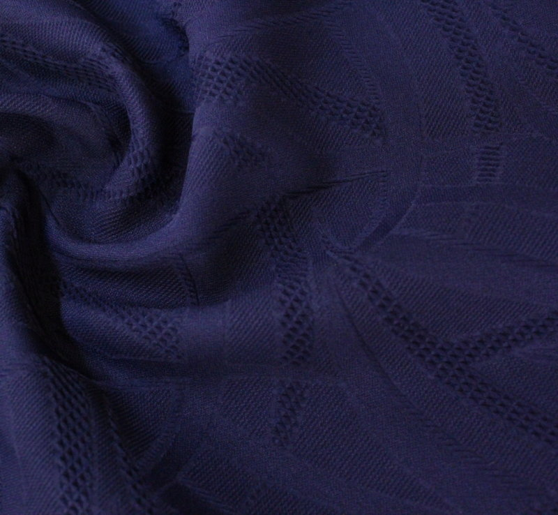 Памук жакард еластичен - тъмносин