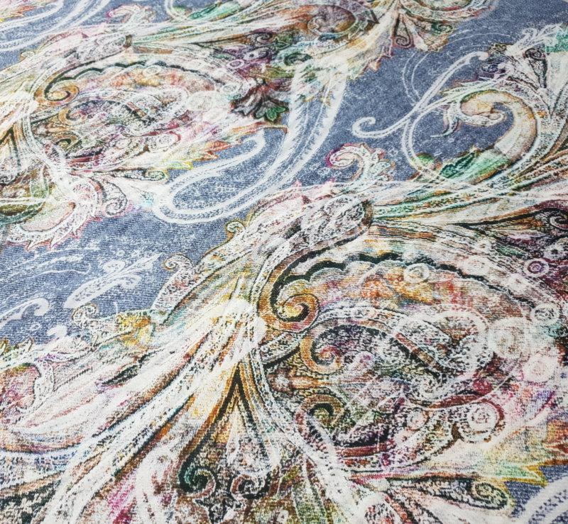 Естествена коприна - кашмирна шарка 1