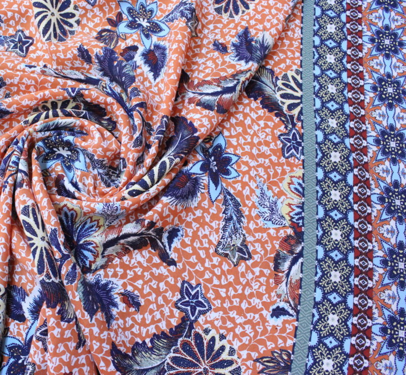 Плат памук щампа - оранжево на цветя