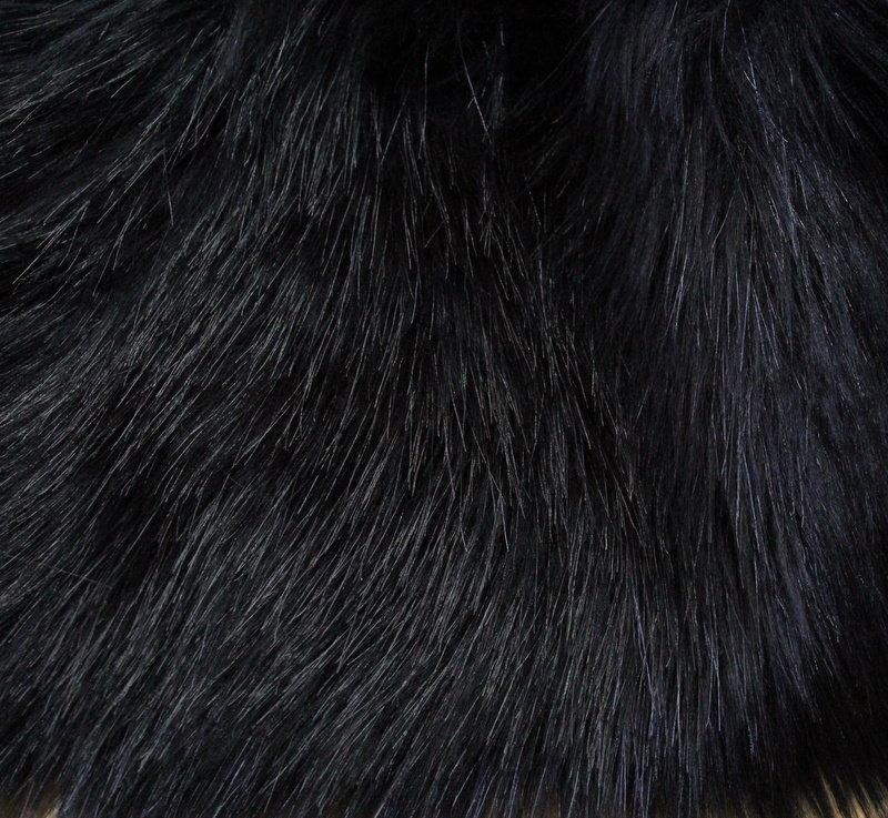 Еко кожа с дълъг косъм - черна