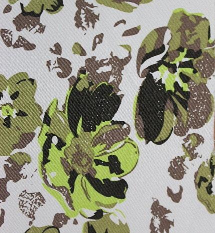 Памук щампа еластичен - зелени цветя