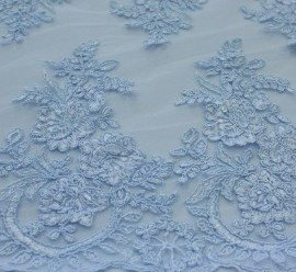 Дантела тюл бродерия - светло синя
