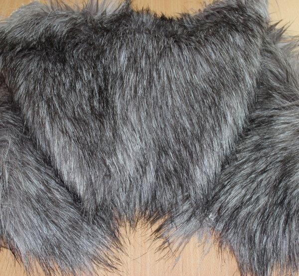 Еко кожа с косъм - Сребристо сива - 0,30см парче