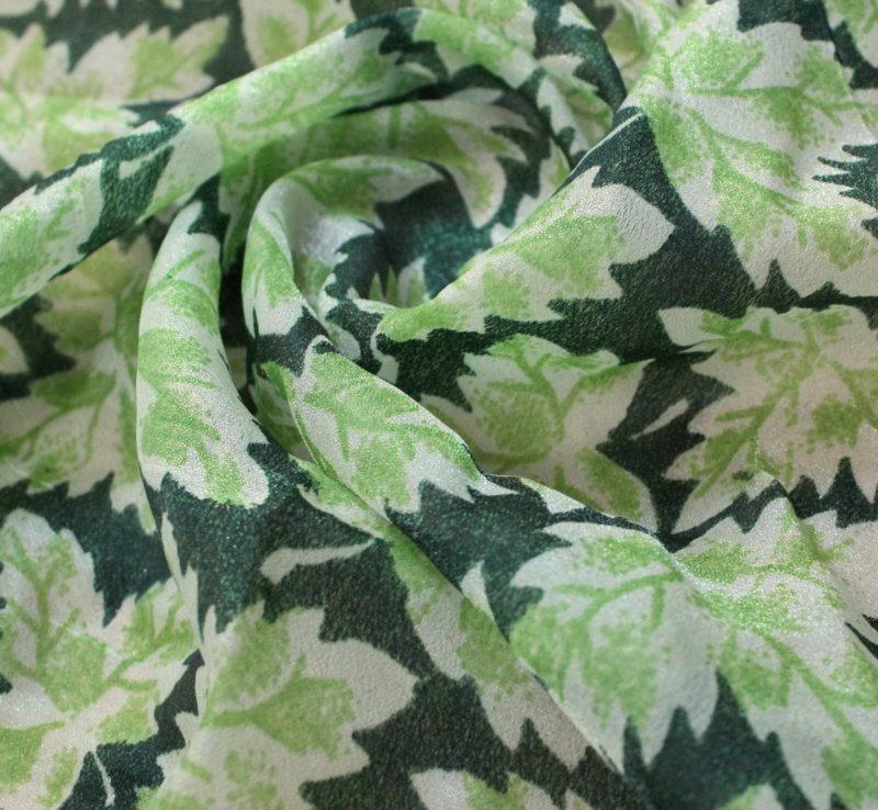 Плат шифон щампа - тунис зелени есенни листа